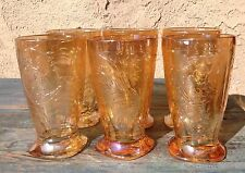 SET 6 CARNIVAL JEANETTE MARIGOLD GLASS TUMBLERS, FLORAGOLD LOUISA MID-CENTURY