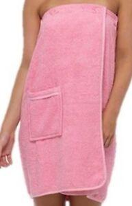 Shower Wrap Towel Sarong 100% Cotton Sarong Elasticated  & Free Slippers Pink