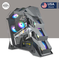 Vetroo K1 Pangolin Computer Case Mid Tower Atx Pc Tempered Glass Power Case Gray