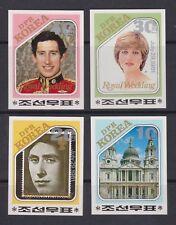 1981 Royal Wedding Charles & Diana MNH Stamp Set Korea Imperf
