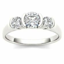 Ring 925 Sterling Silver 2.00 Ct 3 Stone Half Bezel White Moissanite Engagement