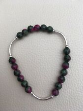 Faceted Ruby Zoisite Stretch Bracelet  with Karen Hill Tribe Silver  Boxed