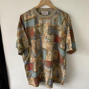 Vintage Tobiasport T-Shirt Size 2XL Short Sleeve Viscose Retro Print Abstract