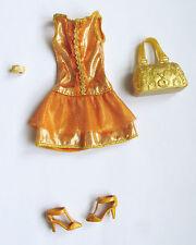 Tenue 4 pièces outfit fashion set ensemble brillant orange/or BARBIE Fashion