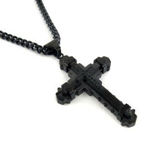 "MEN's Stainless Steel 6mm 24"" Black Cuban Curb Chain Cross Necklace"