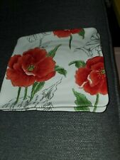 "MAXCERA Red Poppy SET of 4 New Salad Plates 8.5"" Square With Scalloped Edge"