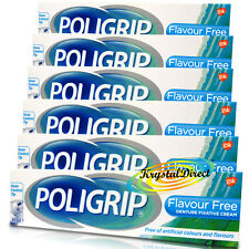 6x Poligrip Flavour Free Denture Fixative Cream 40g