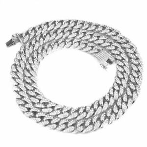Silver Cuban Iced Out Chain Heavy Necklace