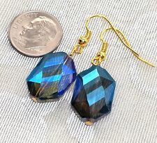 "Blue Crystal Earrings 1.5"" Long *Gorgeous! Gold tone Oceana Jewellery FREE SHIP"