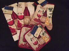 Nwt Lot 5 Kitchen Set Oven Mitts Pot Holders Red Wine � Dish Towels Free Ship