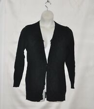 Hot in Hollywood Fringed With Knot Detail Sweater Cardigan Size S Black