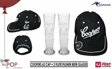 Coopers 62 CAP + 2 Beer Flutes 300ml BNIB Boxed Adelaide Man Cave Aussie SA