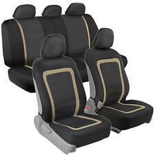 Modern Mesh Car Seat Covers Panel Trim Beige on Black/Gray Front Rear Bench 9pc