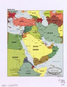 """18"""" x 24"""" 1998 Map Of The Middle East & Countries Within"""