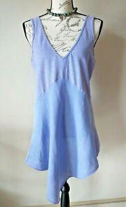 Cut Loose Women Linen Tank Top Hi-Low Mixed-Fabric V-neck Purple Size.S