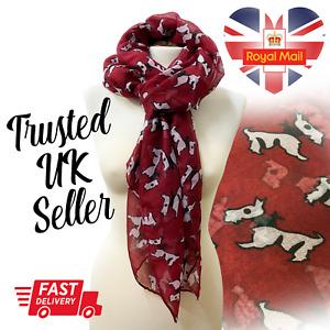 Lady Womens Long Burgundy Red Scotty Dog Print Scarf Light Scarves Wraps Shawl