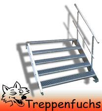 5 Stufen Stahltreppe mit einseitig. Geländer Breite 70 cm  Geschosshöhe 70-105cm