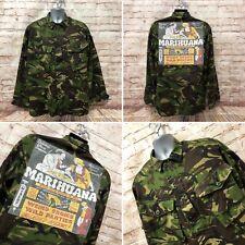 Reworked Camo Army Lightweight Jacket With Marijuana Print - Size Large-Fast P&P