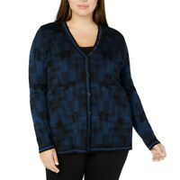 ANNE KLEIN Women's Plus Size Printed Button-front Cardigan Sweater Top TEDO