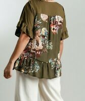 New Umgee Top XL Olive Brown Floral Ruffle Sleeve Linen Boho Peasant Plus Size