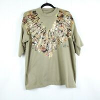 Vintage 80s 90s Tan Painted Embellished Cotton T Shirt Western Animal Print L XL