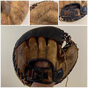 """Vintage Denkurt Frank Grube Brown Made in USA Catchers Mitt Glove 31.5"""""""