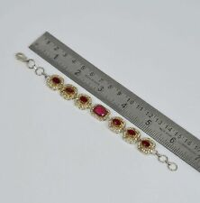 925 SILVER PLATED FACETED RED RUBY CUBIC ZIRCONIA TURKISH BRACELET 6.5 INCH iQ9
