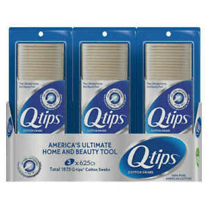 3 x Q-TIPS COTTON SWABS 625 Ct - Brand Sealed - 1875 Total Count