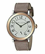 Marc Jacobs MJ1603 Riley Rose Gold White Dial Brown Leather Strap Watch NWT
