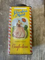 Vintage Empty Peerless Maid Confections Candy Tin Chicago 5 Pounds, Yellow Rare