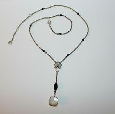 100% Authentic PANDORA ALE 925 Sterling Silver Onyx MOP SINCERITY Necklace Retrd
