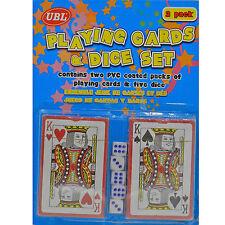 Carta de juego con 5 DADO Set Blackjack Póker Fiesta recubierto plástico Tablero