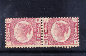 GB QV SG48 1/2d rose-red plate 14 little off-centre unmounted pair cat £240+ m/m