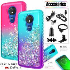 For Motorola Moto G7 Play/Power/Supra Liquid Glitter TPU Phone Case +Accessories