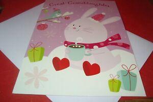 "Great-Granddaughter CHRISTMAS Greeting Card "" Great-Granddaughter "" CARTOON  C49"