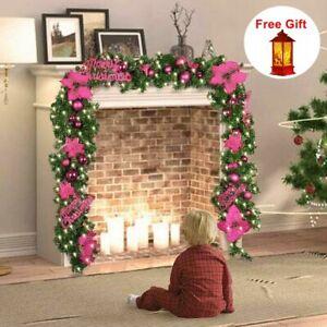 9ft Christmas Garland Decorations Xmas Tree Fireplace Pre-Lit LED Light Wreath