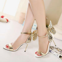 Womens Butterfly Wings High Heels Shoes Open Toe Party Stiletto Sandals Wedding