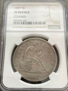 AVC- 1859 SEATED LIBERTY DOLLAR NGC XF DETAILS