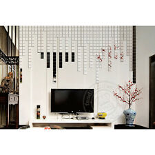 100 Piece Mirror Tile Silver Wall Sticker 3D Decal Mosaic Room Decor Stick on