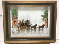 Reverse Painting On Glass Colonial Scene Silhouettes Folk Art Primitive Signed