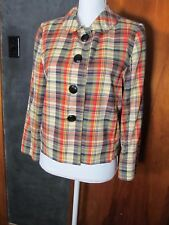 J Crew Madras Plaid Jacket 10 Cotton Soft Padded Shoulders Fully Lined