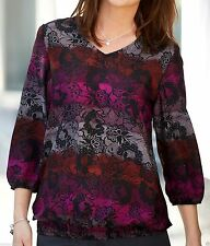 Women's Polyester Collarless Semi Fitted Blouse Tops & Shirts