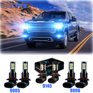 For GMC Sierra 1500 2500 HD 3500 2001-2006 Combo LED Headlight + Fog Light bulbs