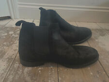 Office Mens Faux Suede Black Pull On Boots Size EU 44 UK 11