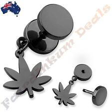 316L Surgical Steel Black Ion Plated Fake Ear Plug With Pot Leaf Dangle