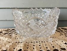 Vintage Square Clear Glass Saw Tooth Rim Footed Candy Bowl Dish