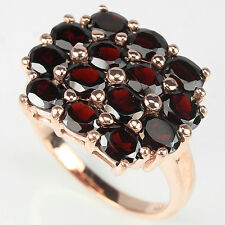 Sterling Silver 925 Rose Gold Plated  Oval Faceted Garnet Ring Size R1/2 (US 9)