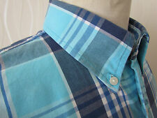 Hollister Short Sleeve Blue & White Check Men's Shirt ~ Size XL