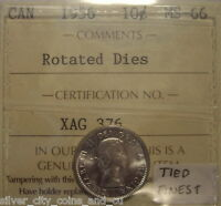 Canada Elizabeth II 1956 Rotated Dies Silver Ten Cents - ICCS MS-66 (XAG-376)