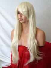 Pale Bleach Blonde Women Long straight Halloween Ladies Full Wig E5